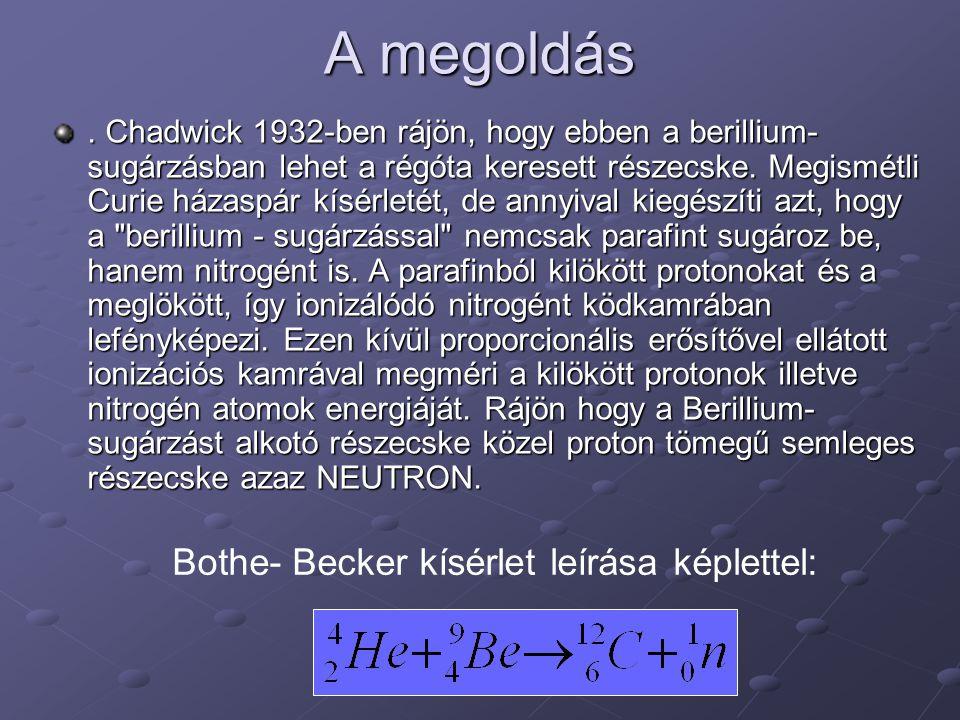 A megoldás Bothe- Becker kísérlet leírása képlettel: