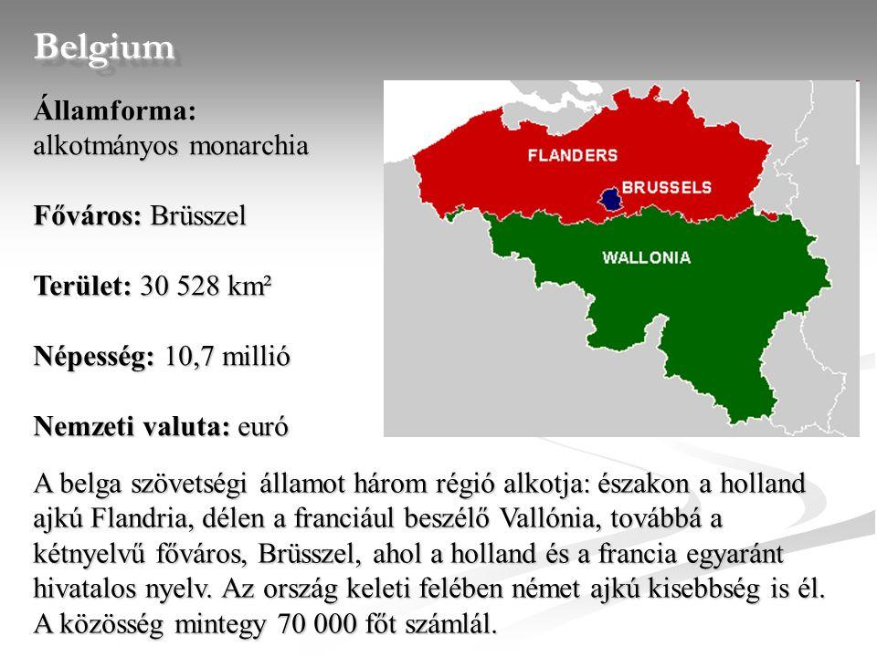 Belgium Államforma: alkotmányos monarchia Főváros: Brüsszel