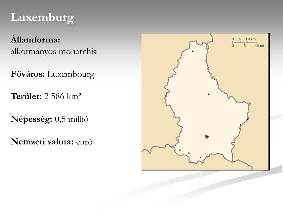 Luxemburg Államforma: alkotmányos monarchia Főváros: Luxembourg