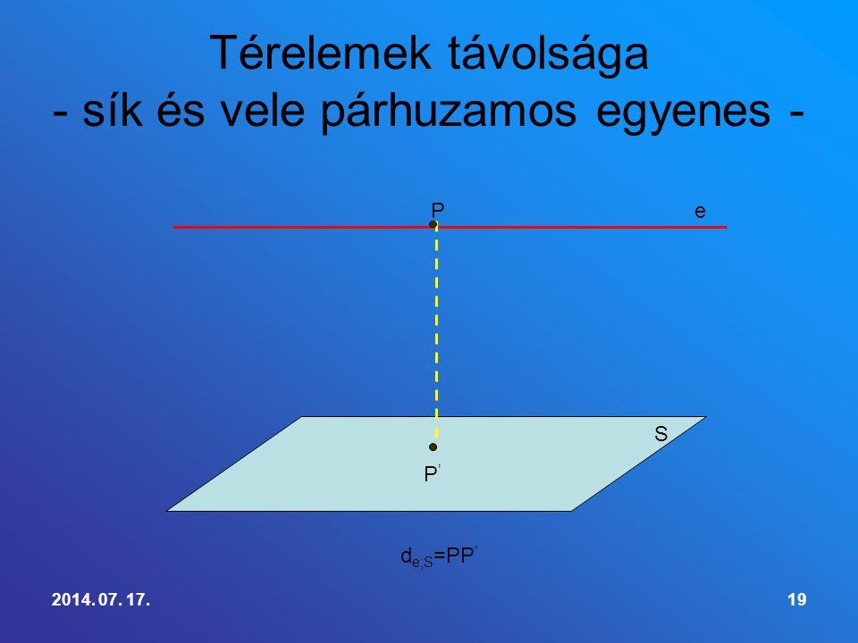 Térelemek távolsága - sík és vele párhuzamos egyenes -
