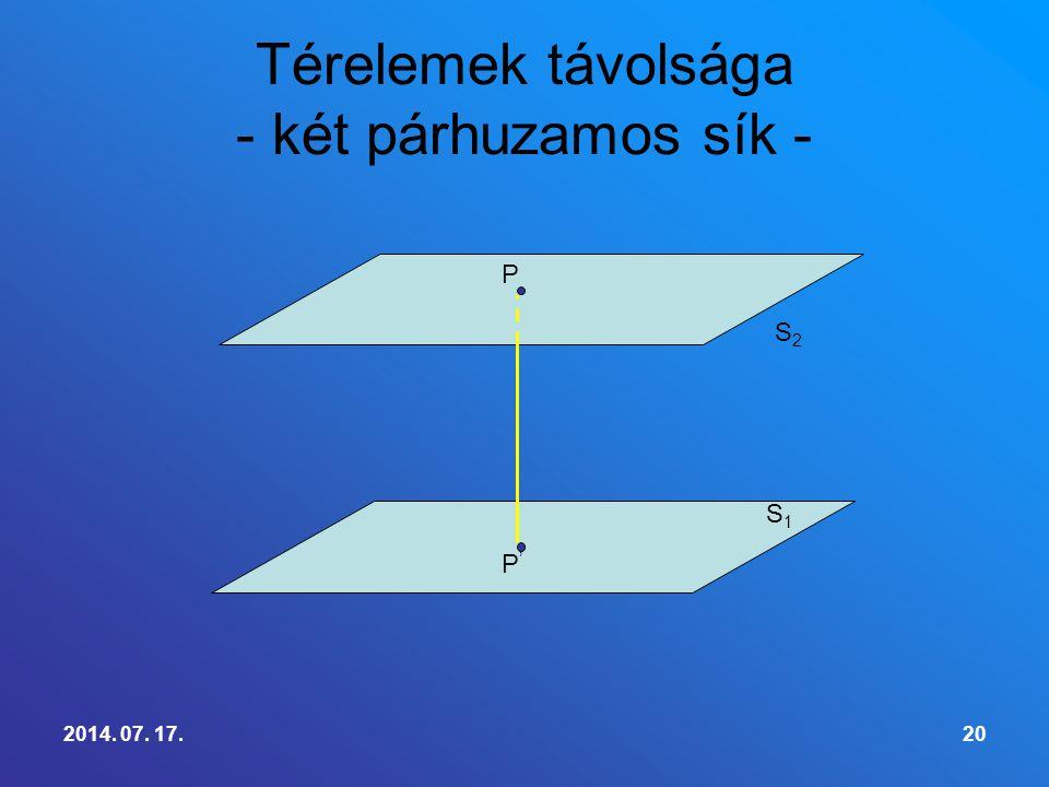 Térelemek távolsága - két párhuzamos sík -