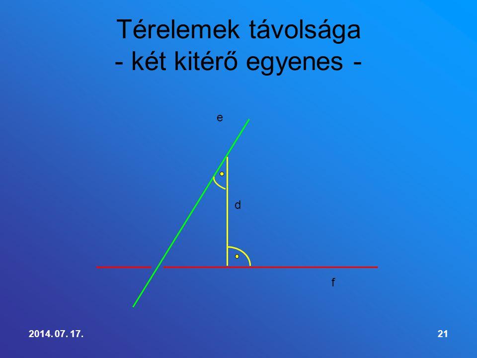 Térelemek távolsága - két kitérő egyenes -