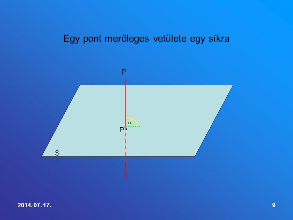 Egy pont merőleges vetülete egy síkra