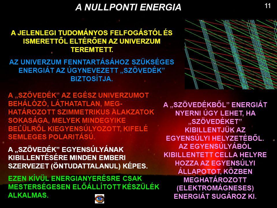 A NULLPONTI ENERGIA 11. A JELENLEGI TUDOMÁNYOS FELFOGÁSTÓL ÉS ISMERETTŐL ELTÉRŐEN AZ UNIVERZUM TEREMTETT.