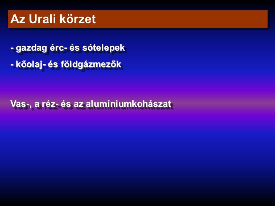 Az Urali körzet - gazdag érc- és sótelepek - kőolaj- és földgázmezők