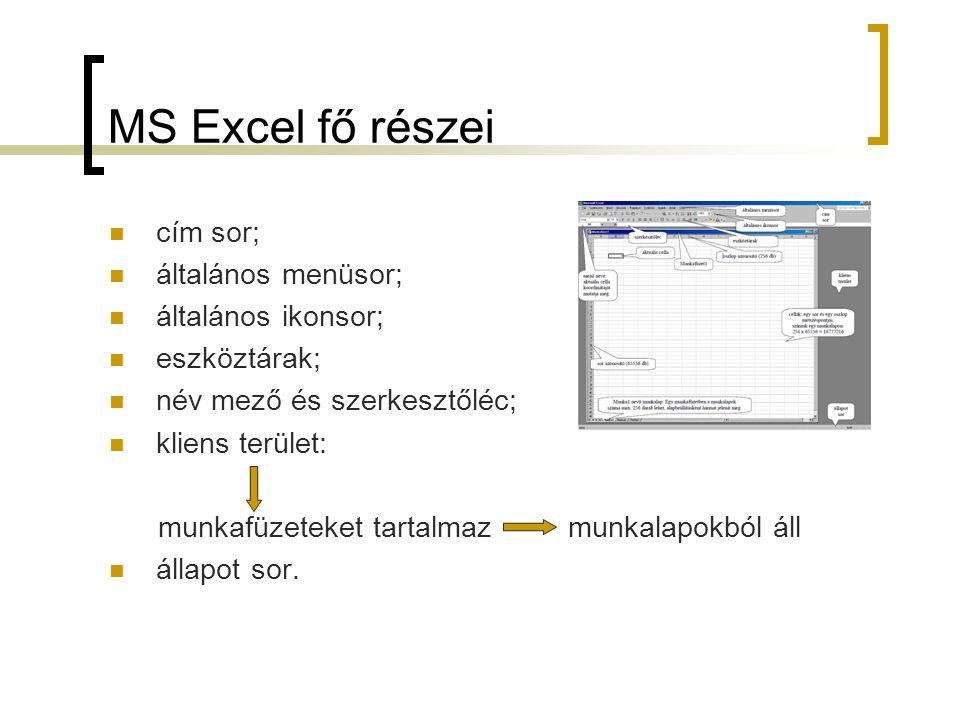 MS Excel fő részei cím sor; általános menüsor; általános ikonsor;