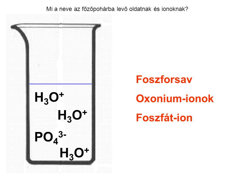 H3O+ H3O+ PO43- H3O+ Foszforsav Oxonium-ionok Foszfát-ion