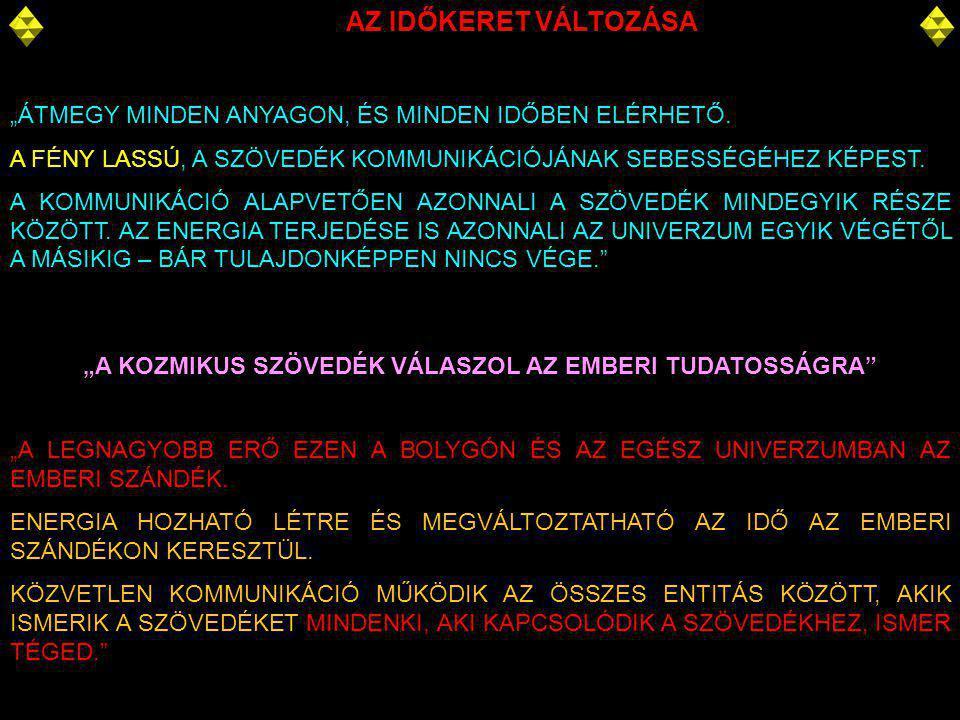 """""""A KOZMIKUS SZÖVEDÉK VÁLASZOL AZ EMBERI TUDATOSSÁGRA"""