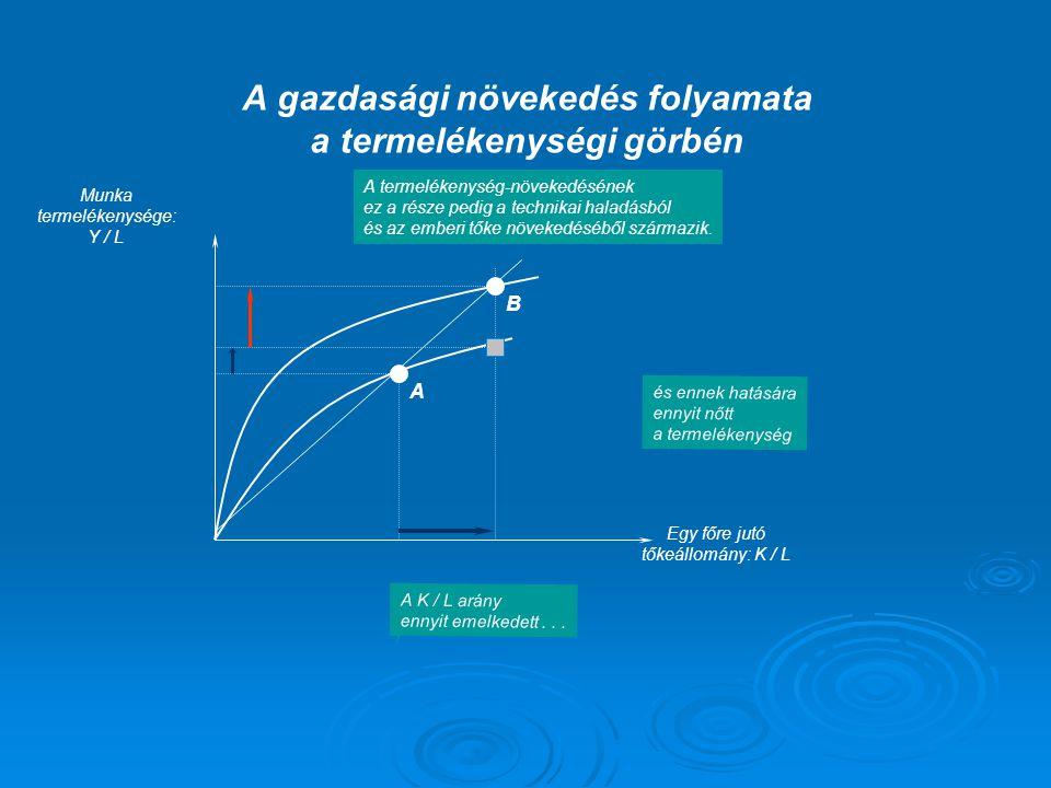 A gazdasági növekedés folyamata a termelékenységi görbén
