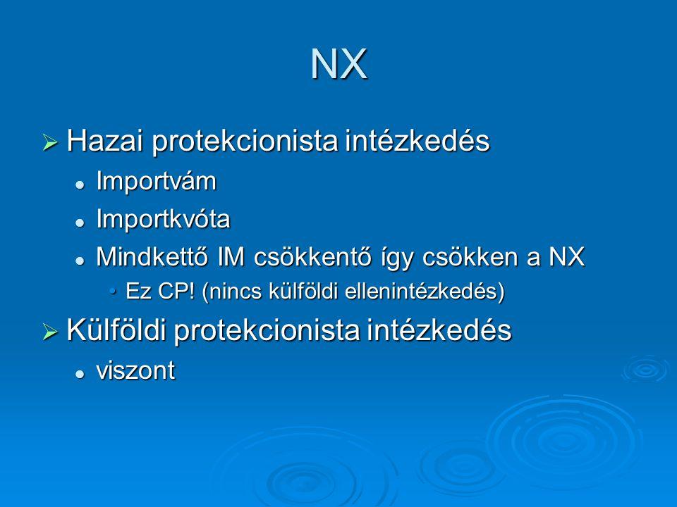 NX Hazai protekcionista intézkedés Külföldi protekcionista intézkedés