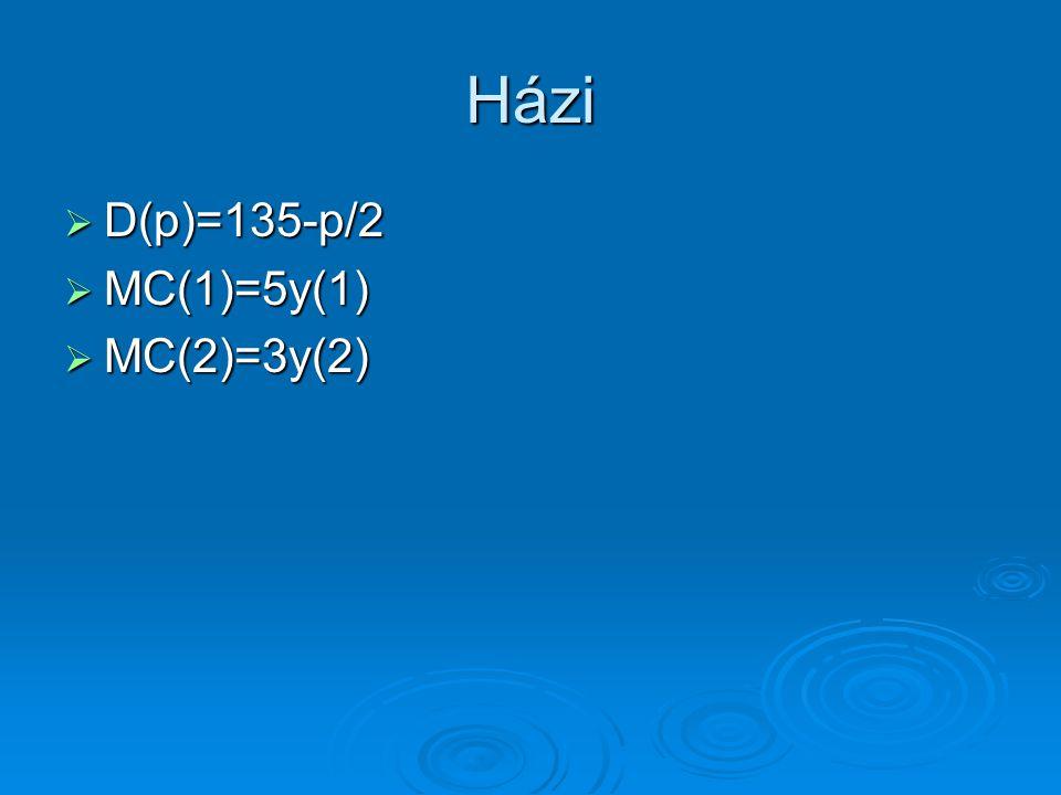 Házi D(p)=135-p/2 MC(1)=5y(1) MC(2)=3y(2)