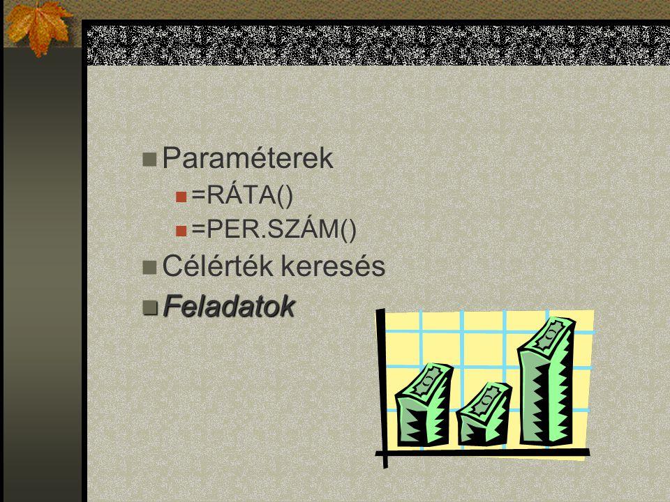 Paraméterek =RÁTA() =PER.SZÁM() Célérték keresés Feladatok