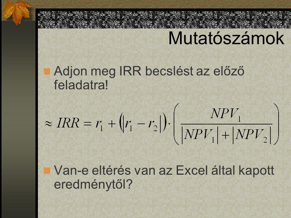 Mutatószámok Adjon meg IRR becslést az előző feladatra!