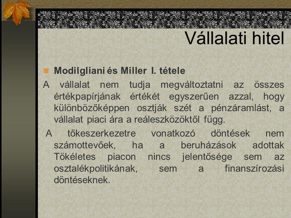 Vállalati hitel Modilgliani és Miller I. tétele