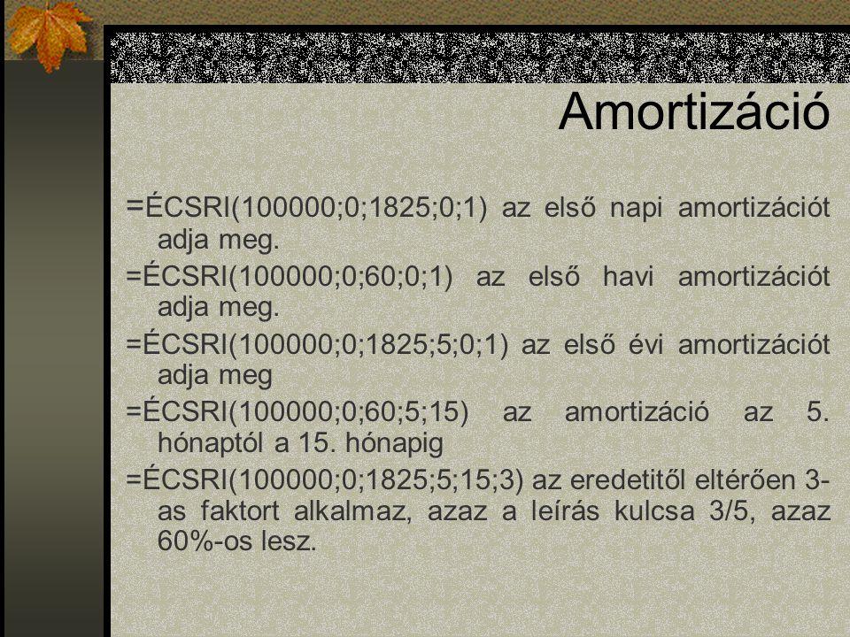 Amortizáció =ÉCSRI(100000;0;1825;0;1) az első napi amortizációt adja meg. =ÉCSRI(100000;0;60;0;1) az első havi amortizációt adja meg.
