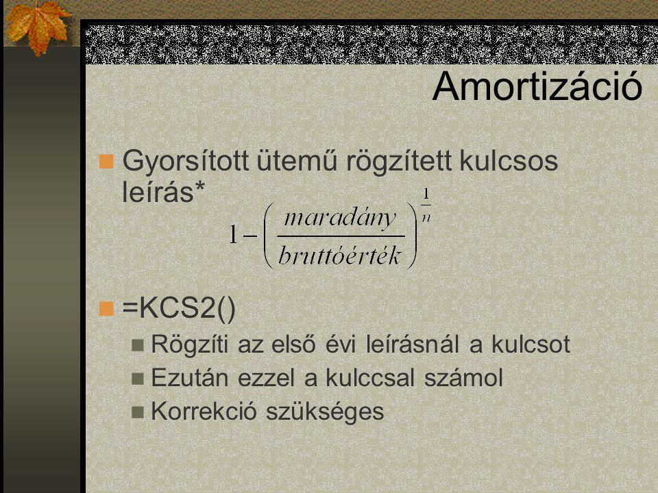 Amortizáció Gyorsított ütemű rögzített kulcsos leírás* =KCS2()