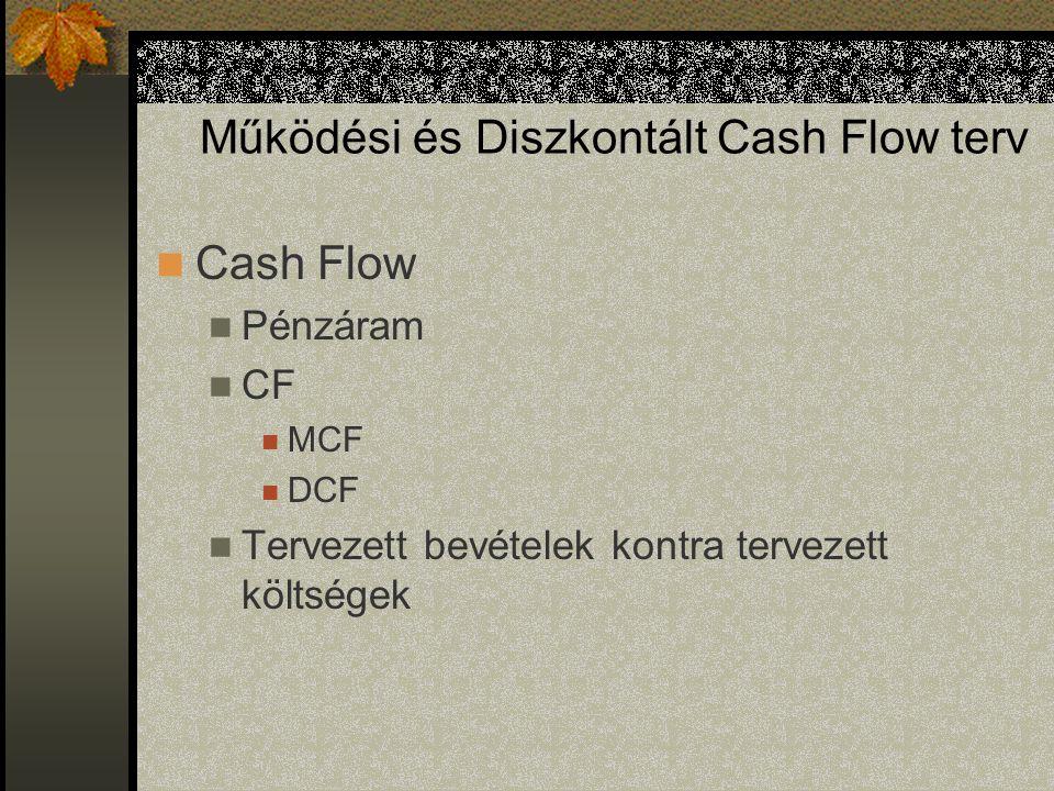 Működési és Diszkontált Cash Flow terv