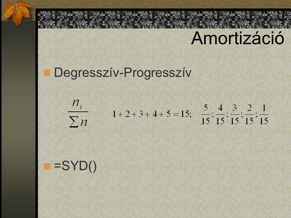 Amortizáció Degresszív-Progresszív =SYD()