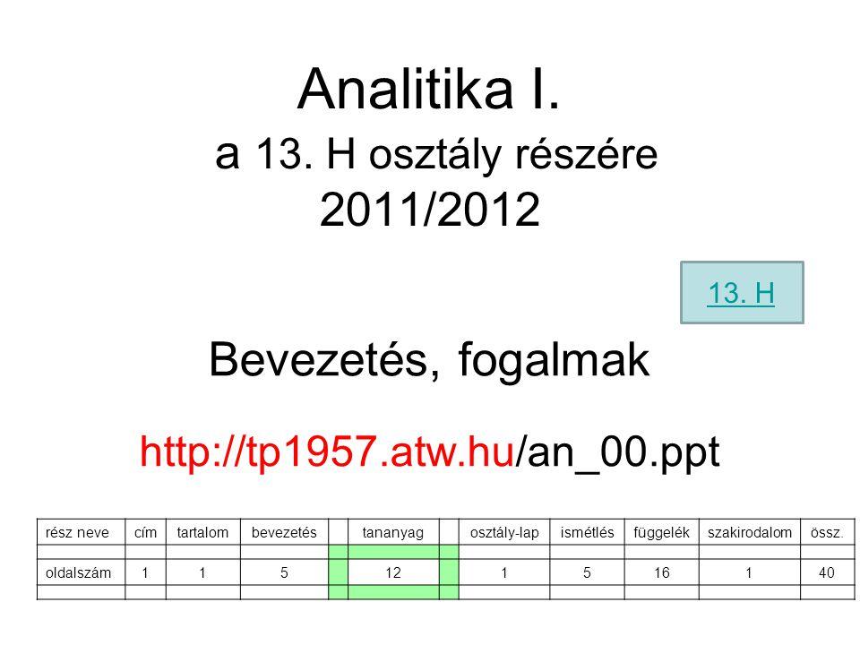 Analitika I. a 13. H osztály részére 2011/2012