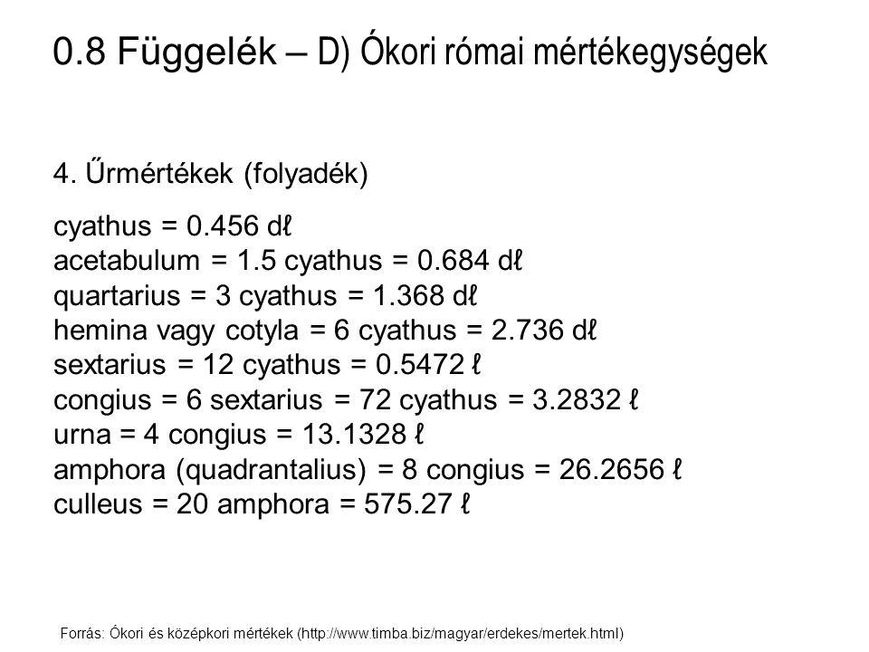 0.8 Függelék – D) Ókori római mértékegységek