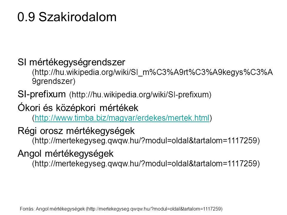 0.9 Szakirodalom SI mértékegységrendszer