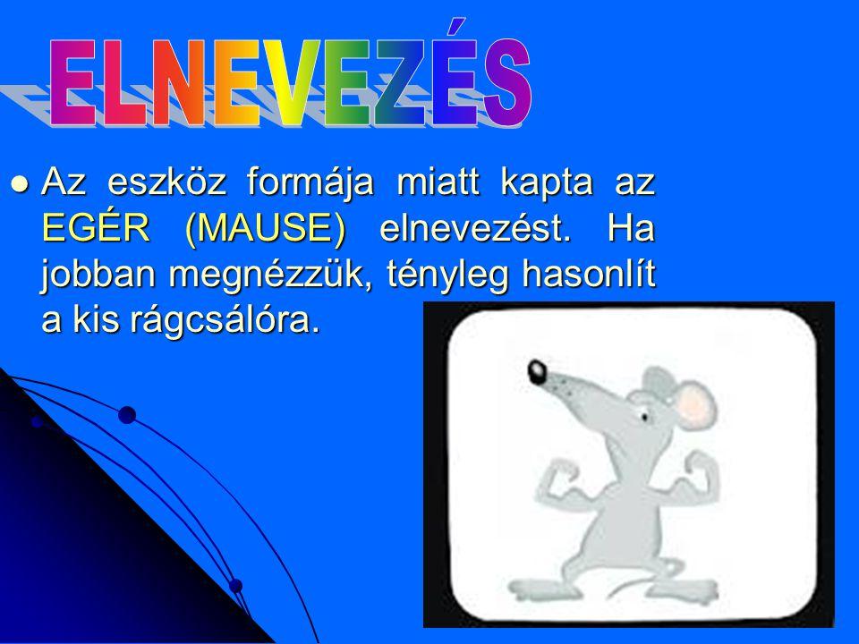 ELNEVEZÉS Az eszköz formája miatt kapta az EGÉR (MAUSE) elnevezést.