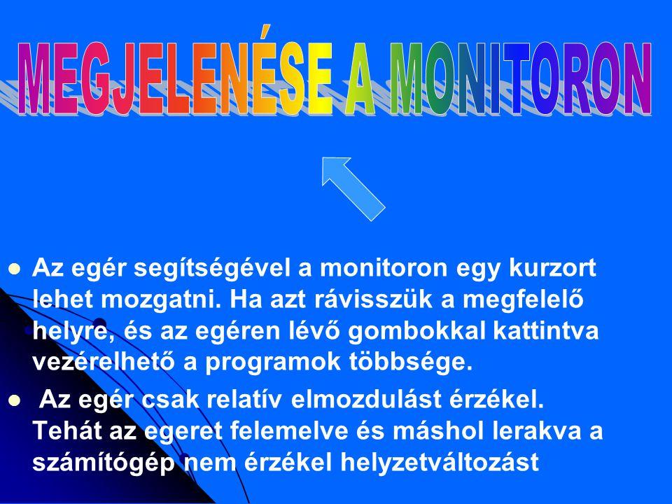 MEGJELENÉSE A MONITORON