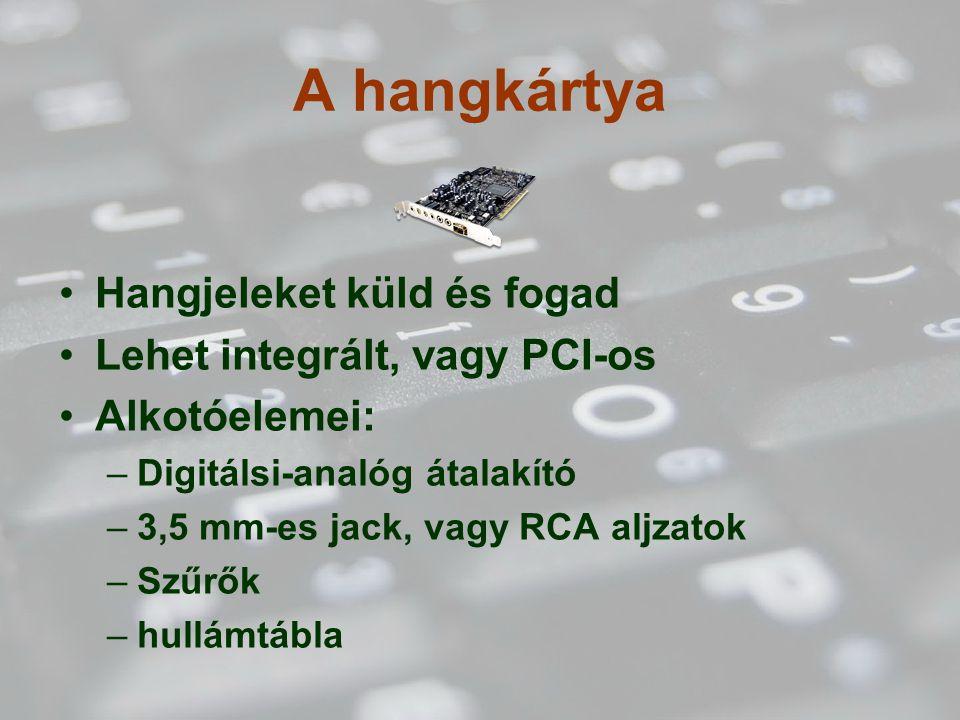 A hangkártya Hangjeleket küld és fogad Lehet integrált, vagy PCI-os