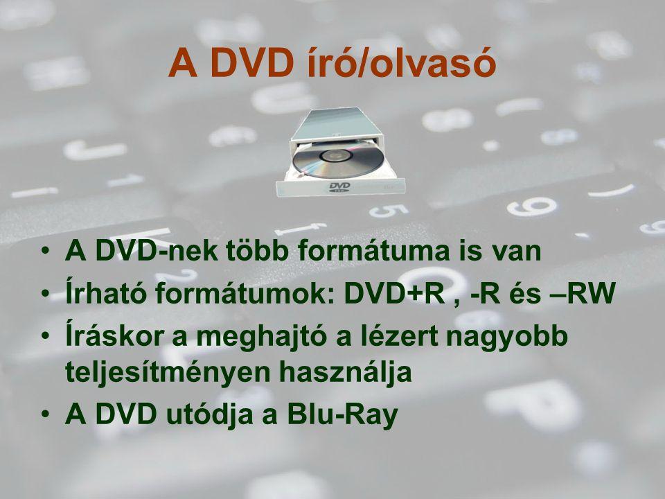 A DVD író/olvasó A DVD-nek több formátuma is van