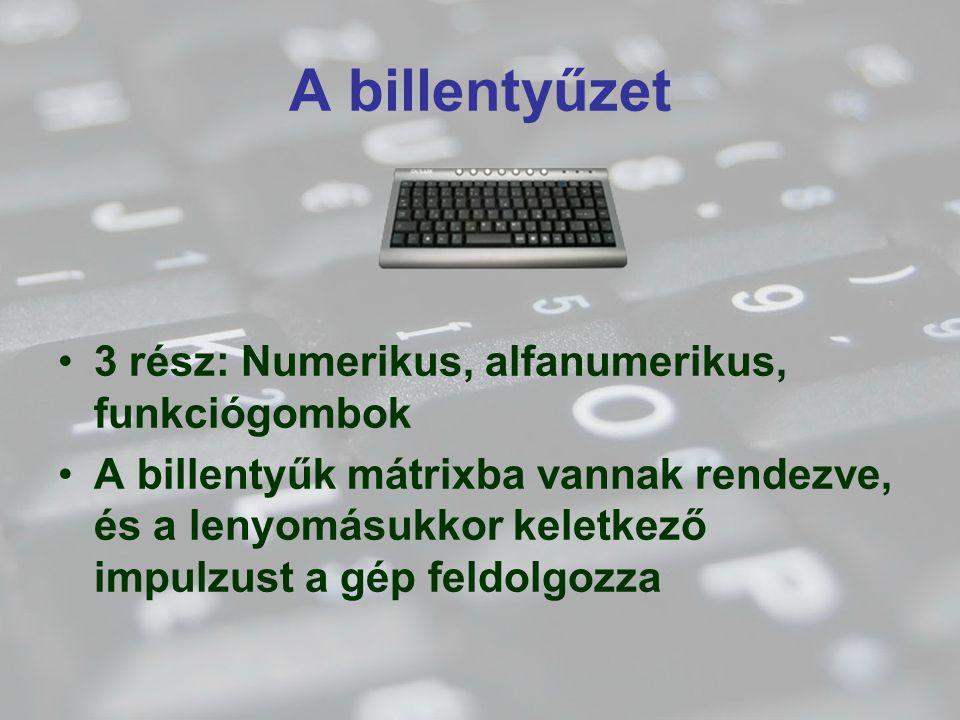 A billentyűzet 3 rész: Numerikus, alfanumerikus, funkciógombok
