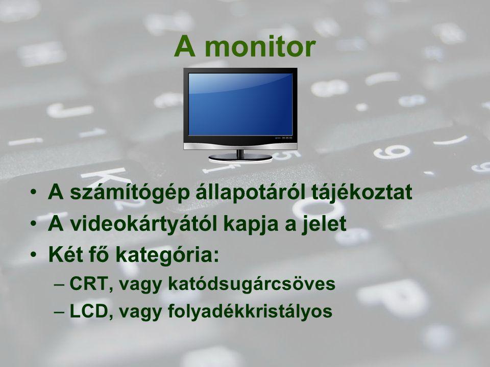 A monitor A számítógép állapotáról tájékoztat