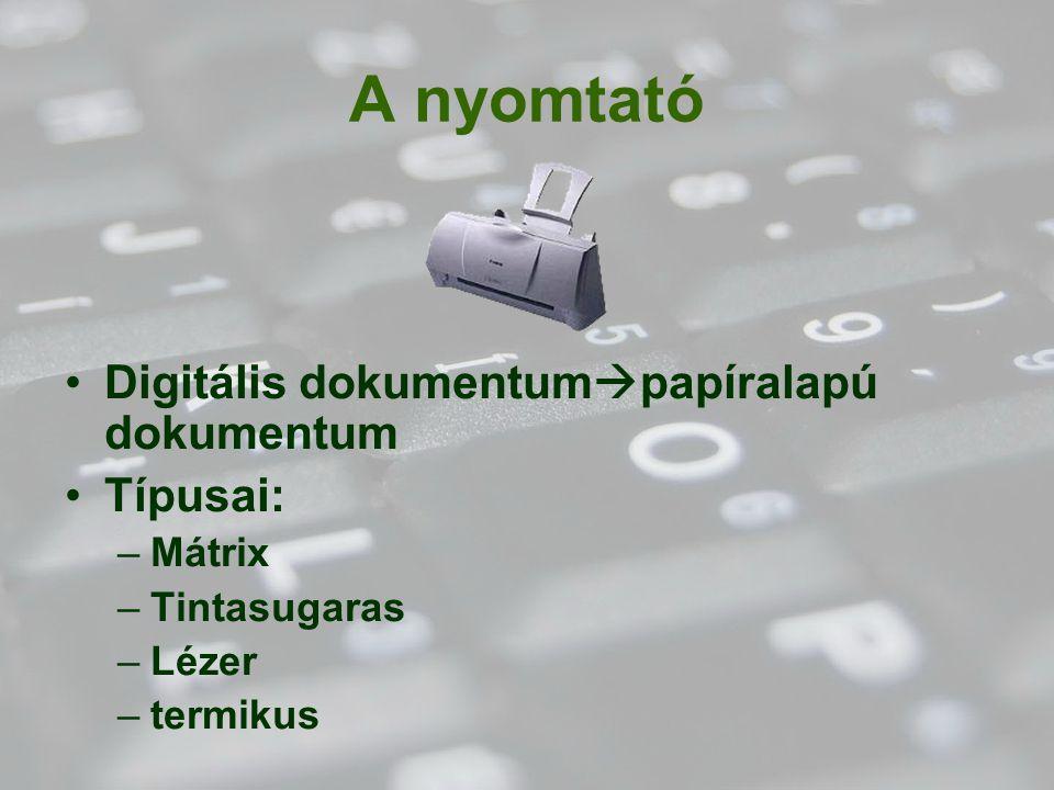 A nyomtató Digitális dokumentumpapíralapú dokumentum Típusai: Mátrix