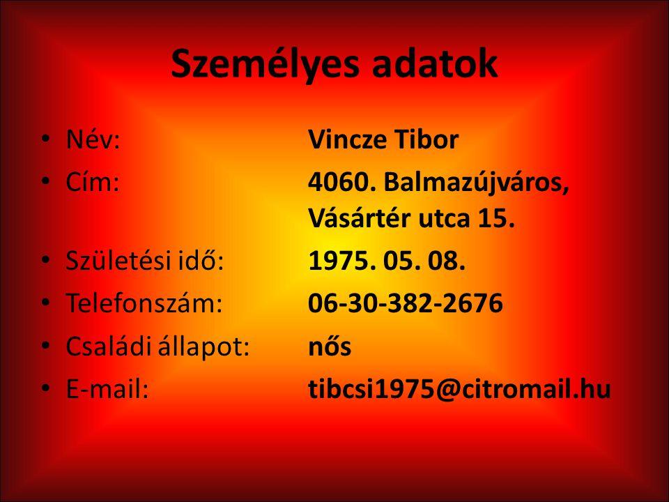 Személyes adatok Név: Vincze Tibor
