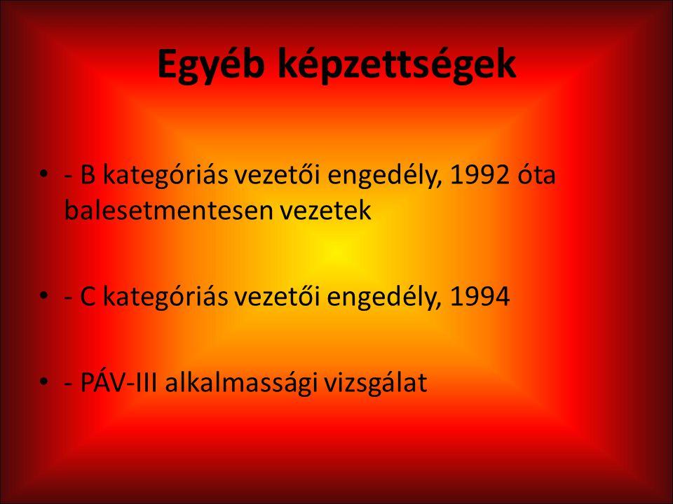 Egyéb képzettségek - B kategóriás vezetői engedély, 1992 óta balesetmentesen vezetek. - C kategóriás vezetői engedély, 1994.