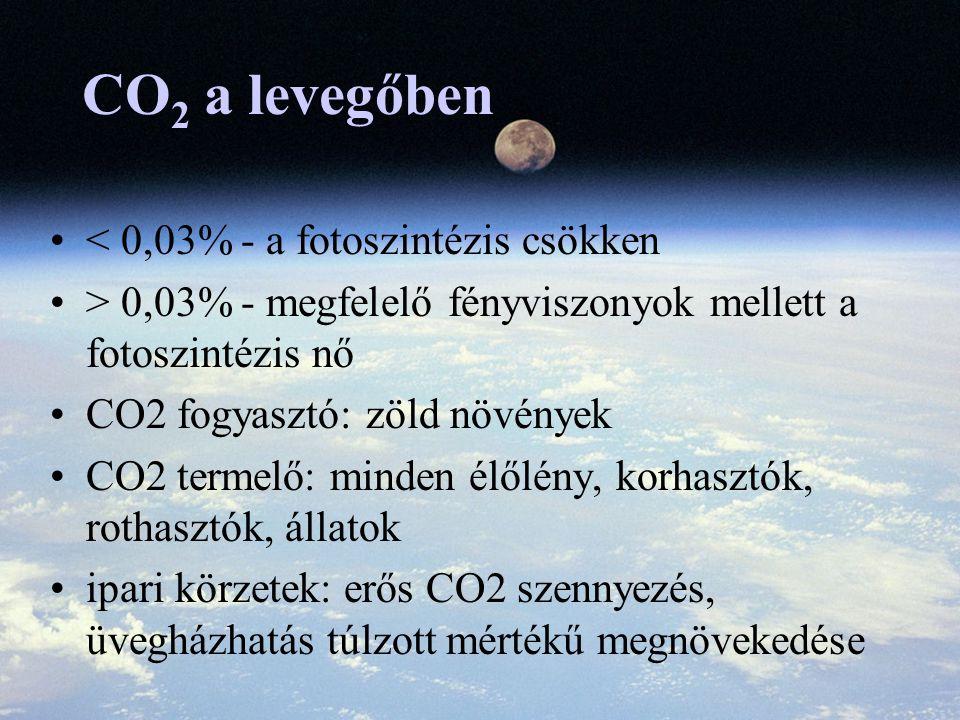 CO2 a levegőben < 0,03% - a fotoszintézis csökken