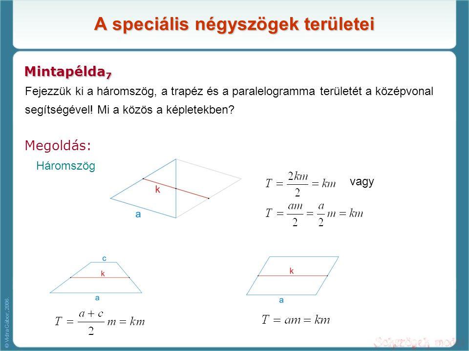 A speciális négyszögek területei