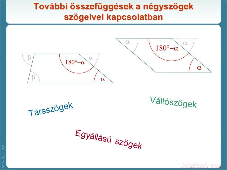 További összefüggések a négyszögek szögeivel kapcsolatban
