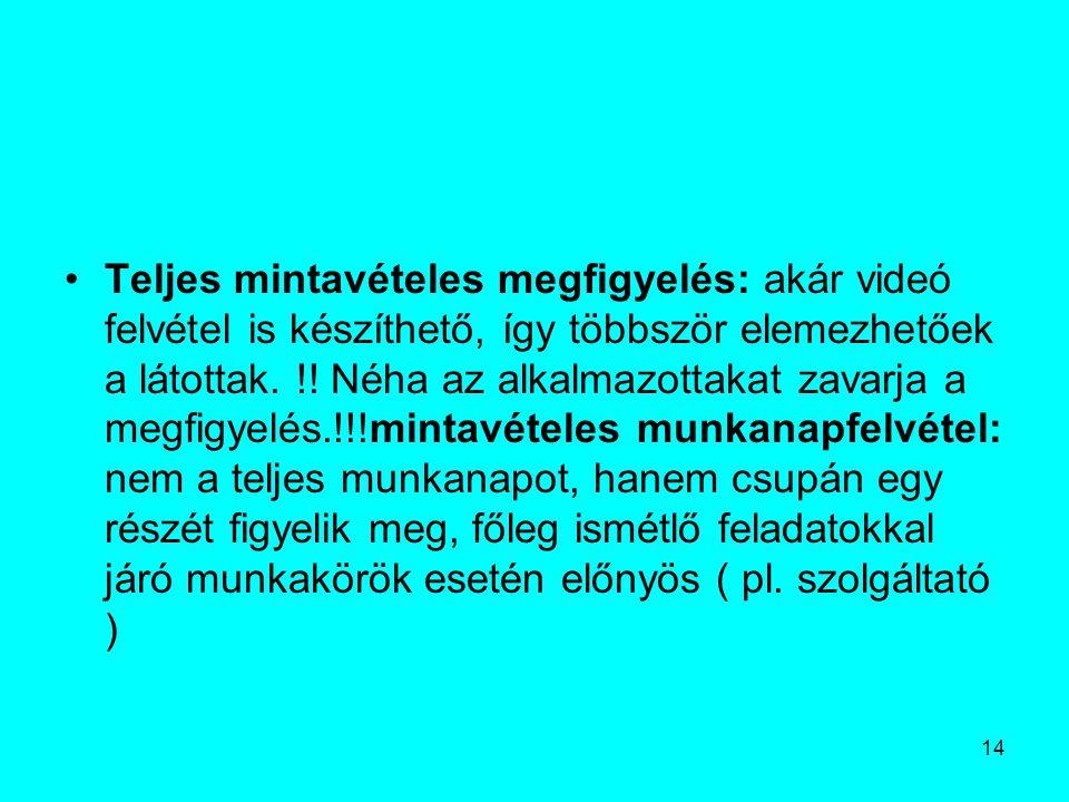 Teljes mintavételes megfigyelés: akár videó felvétel is készíthető, így többször elemezhetőek a látottak.