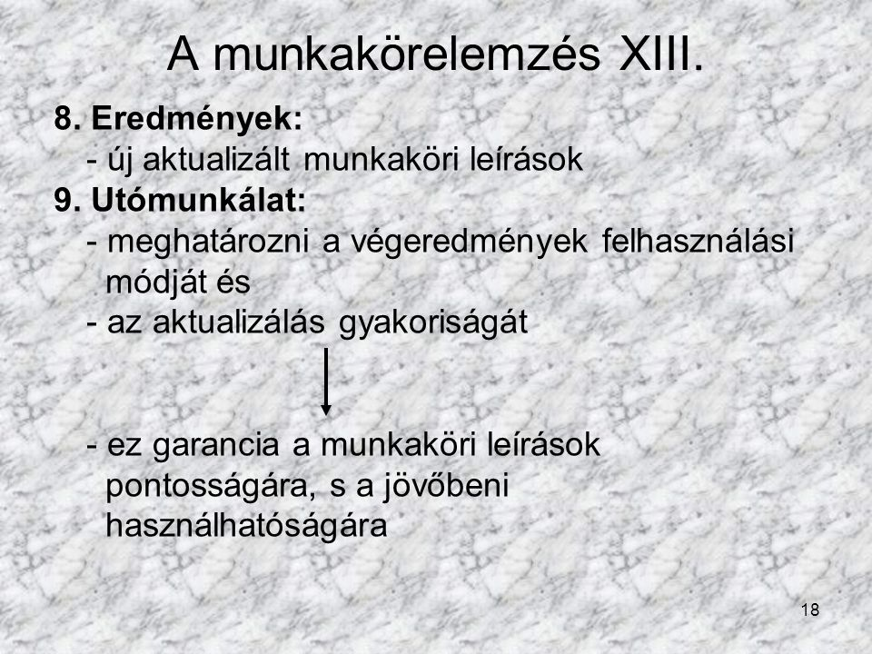 A munkakörelemzés XIII.