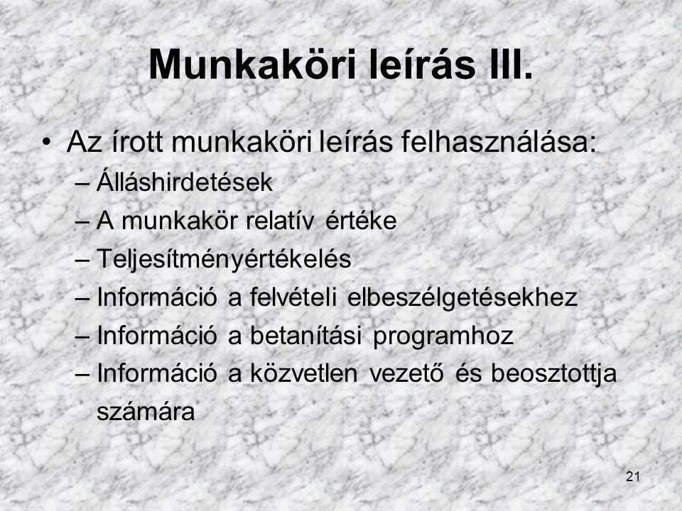 Munkaköri leírás III. Az írott munkaköri leírás felhasználása: