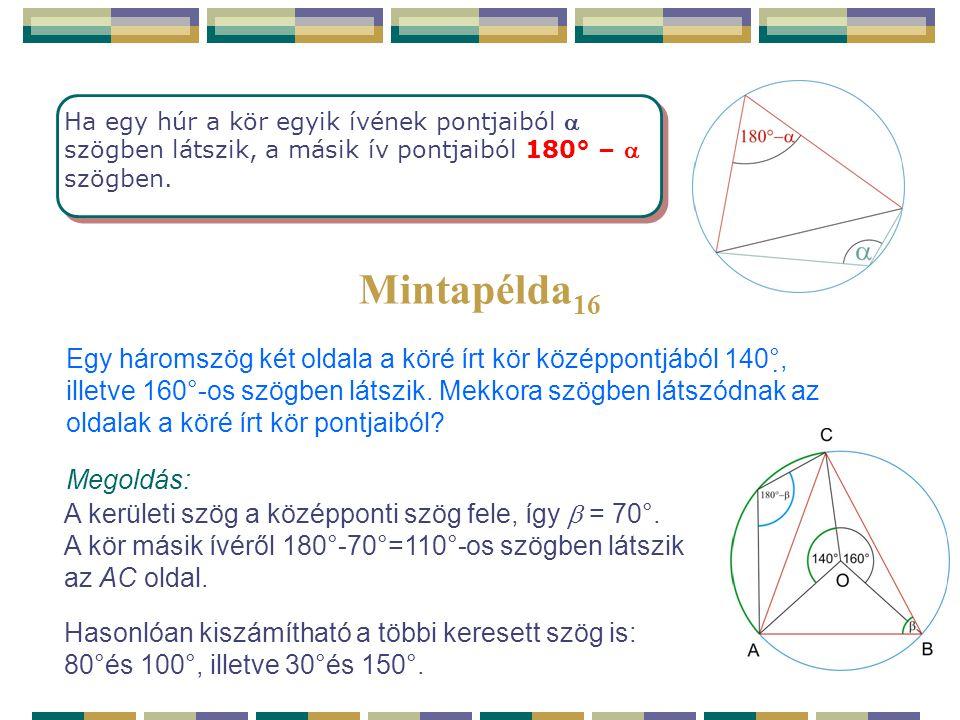 Ha egy húr a kör egyik ívének pontjaiból a szögben látszik, a másik ív pontjaiból 180° – a szögben.