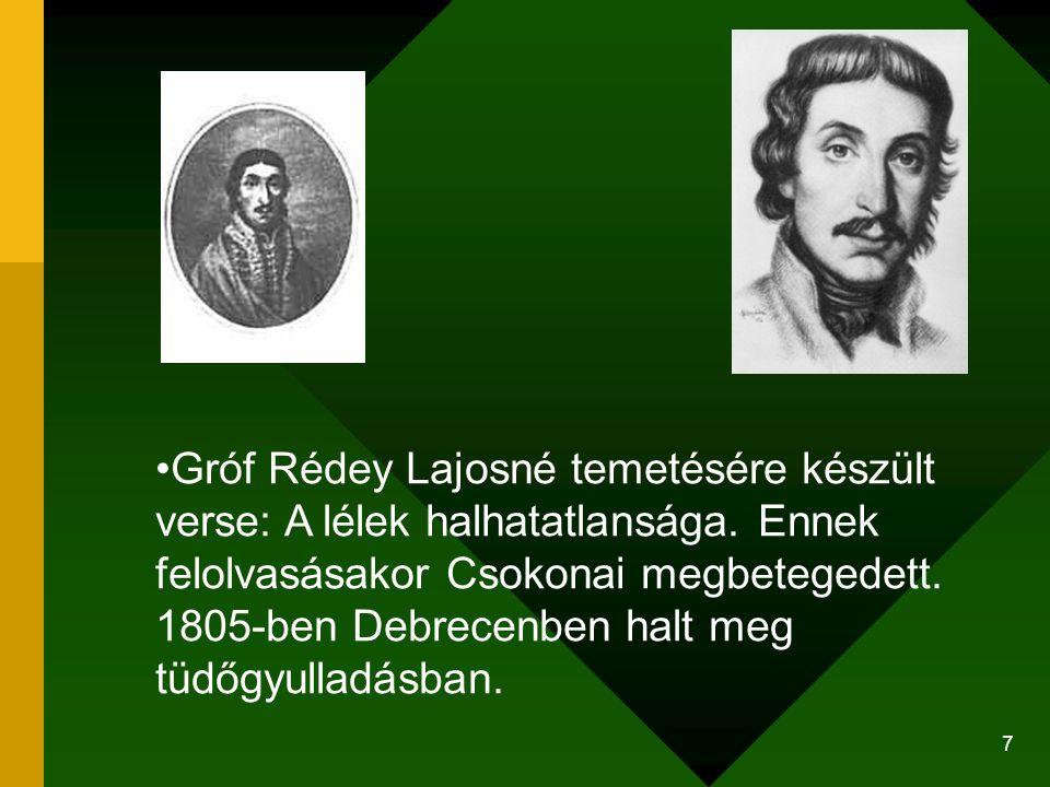 Gróf Rédey Lajosné temetésére készült verse: A lélek halhatatlansága