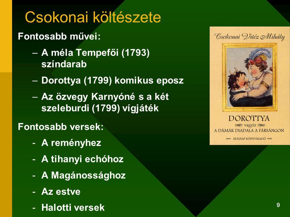Csokonai költészete Fontosabb művei: A méla Tempefői (1793) színdarab