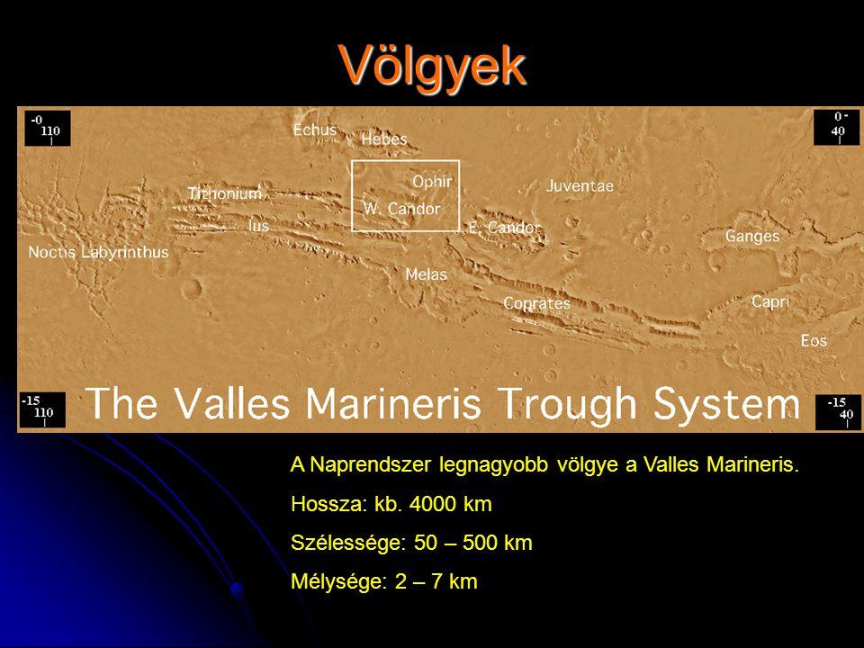 Völgyek A Naprendszer legnagyobb völgye a Valles Marineris.