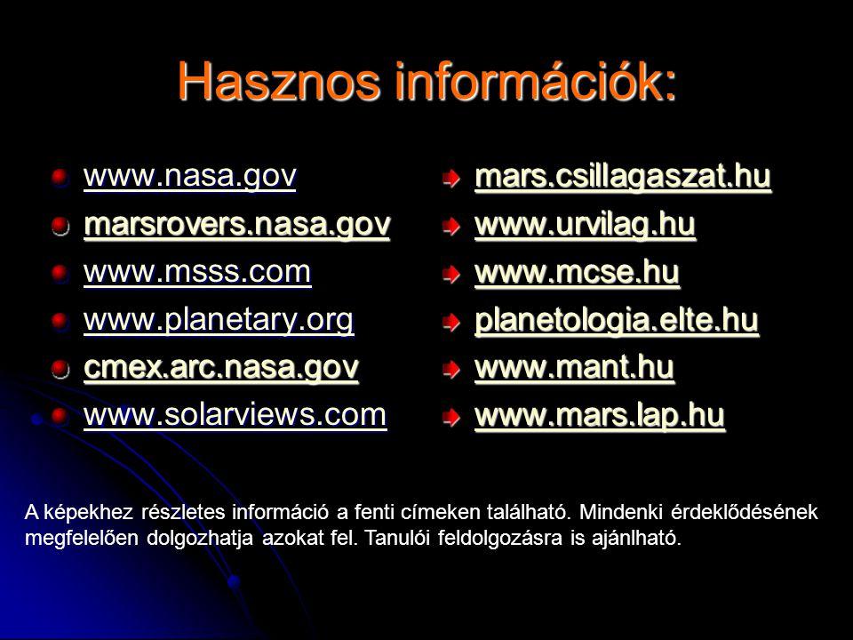 Hasznos információk: www.nasa.gov marsrovers.nasa.gov www.msss.com
