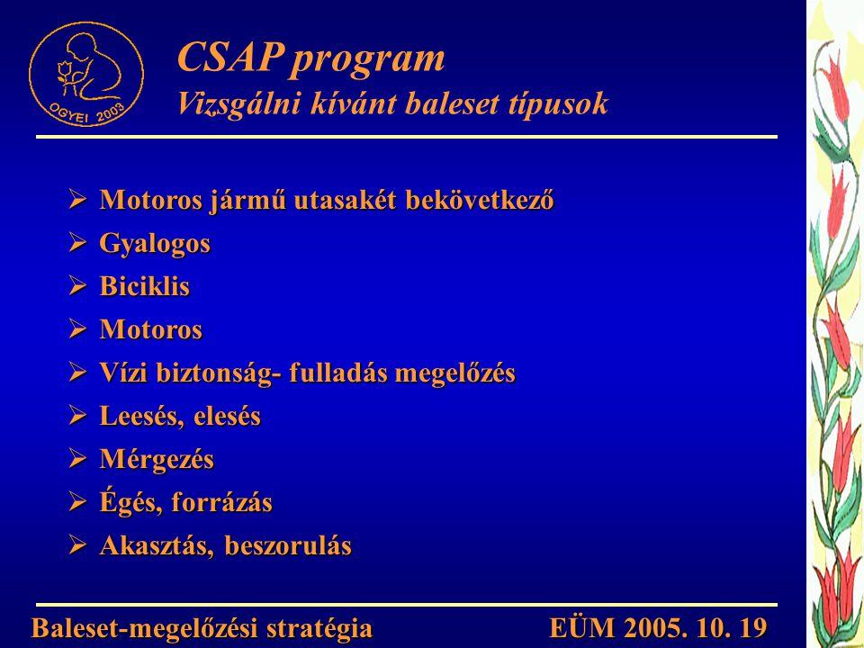 CSAP program Vizsgálni kívánt baleset típusok