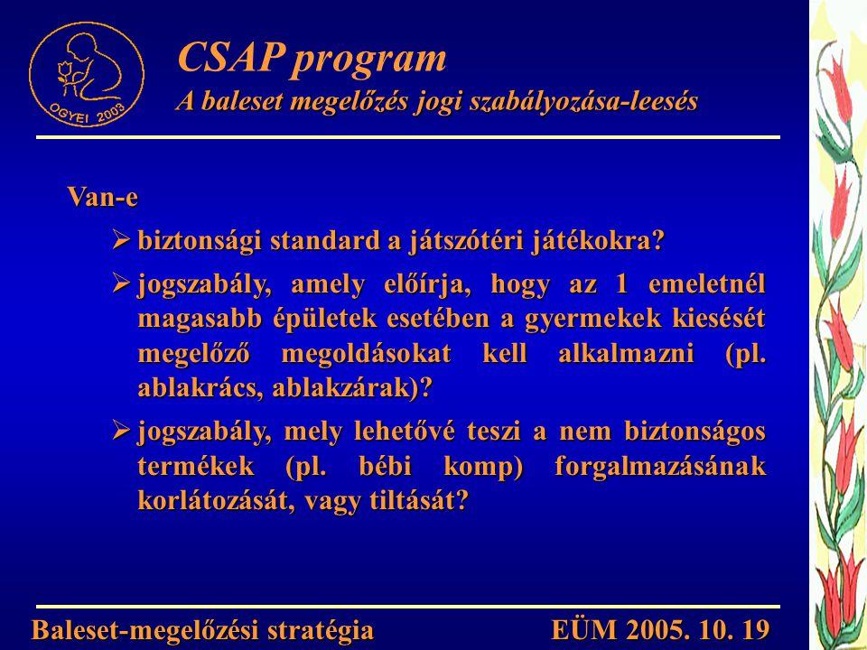 CSAP program A baleset megelőzés jogi szabályozása-leesés Van-e