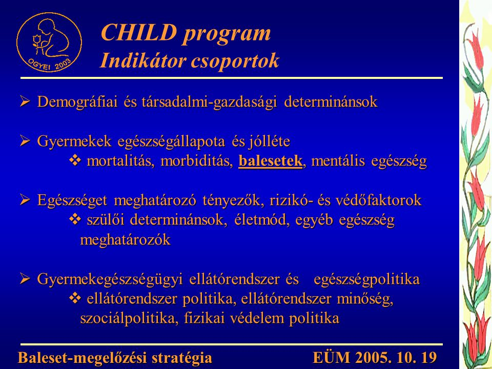 CHILD program Indikátor csoportok