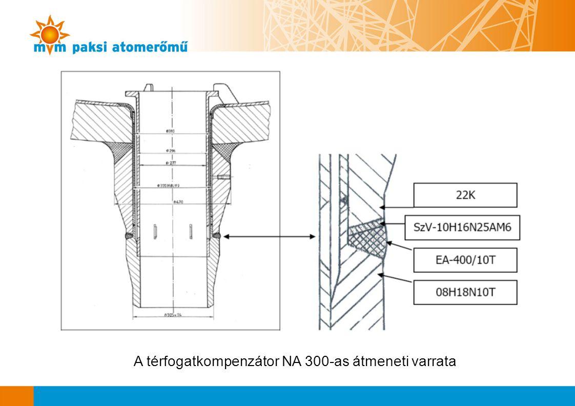 A térfogatkompenzátor NA 300-as átmeneti varrata