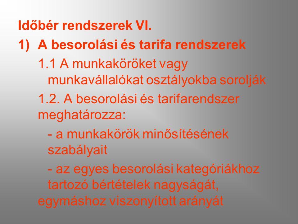 Időbér rendszerek VI. A besorolási és tarifa rendszerek. 1.1 A munkaköröket vagy munkavállalókat osztályokba sorolják.